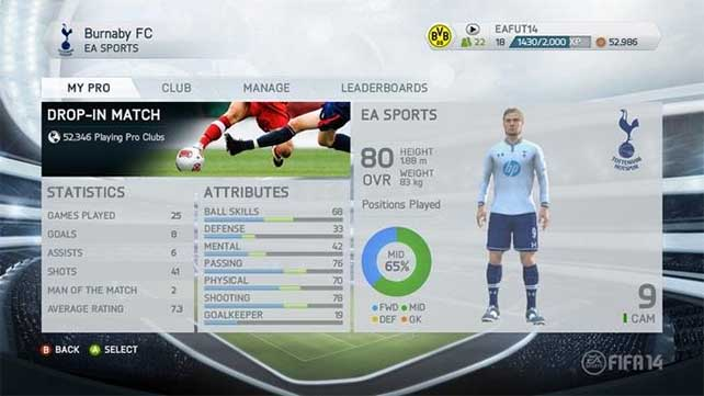 FIFA 14 Pro Clubs Season - Complete Accomplishments List for On Line Pro