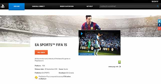 FIFA 15 Pre-Order is now available on the PSN Store