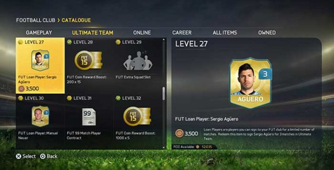 New FUT 15 Players for Loan in your EAS FC Catalogue