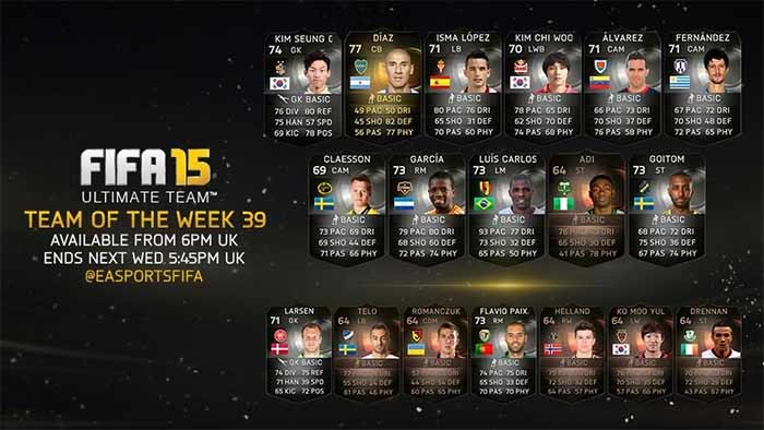 FIFA 15 Ultimate Team - TOTW 39