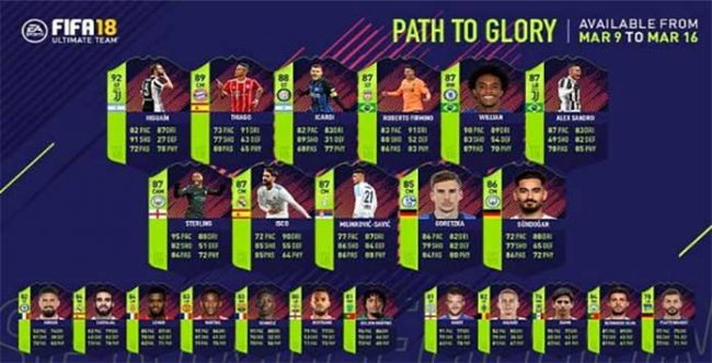 FIFA 18 Spring PTG Players - The Path to Glory Squad