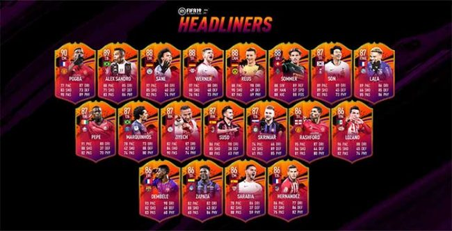 Headliners Squad for FIFA 19 Ultimate Team